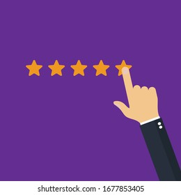 Hand pressing and Rating Five Stars.vector illustration