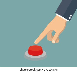 Hand pressing the red button. Flat style
