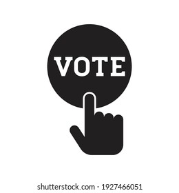 Hand pressing vote button icon, Polling, Voting election with hand sign, Pictogram flat design vector illustration