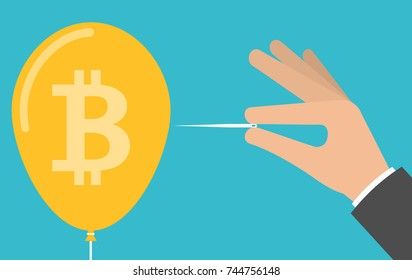 Hand pricking or bursting bitcoin balloon with a needle