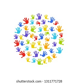 Hand print background. Round on white background for business card, website, postcard, invitation. Hands, circle, handprint baby, baby palm, watercolor.