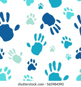 Hand print human and animal paw print seamless pattern. Vector illustration. Isolated on white background. Vector seamless
