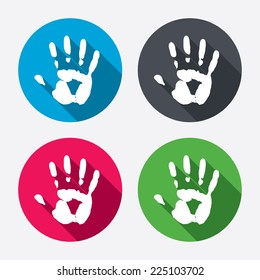 Hand print sign icon. Stop symbol. Circle buttons with long shadow. 4 icons set. Vector