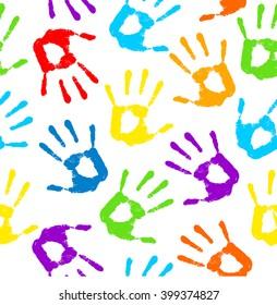Hand print. Vector illustration .Seamless pattern, background