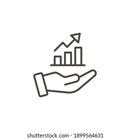 Hand and profit icon. Simple line style for web template and app. Future, pick, revenue, business, achievement, chart, diagram, vector illustration design on white background. EPS 10