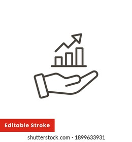 Hand and profit icon. Simple line style for web template and app. Future, pick, revenue, business, achievement, chart, diagram, vector illustration design on white background. Editable stroke EPS 10