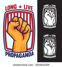 Hand Up Proletarian Revolution Propaganda - Fist of revolution. Human hand up logo.