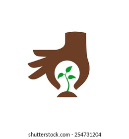Hand protecting plant - nature conservation graphic. This illustration represents ecological protection, protecting plants and trees.