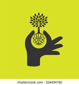 Hand protecting plant - nature conservation graphic. Vector illustration.