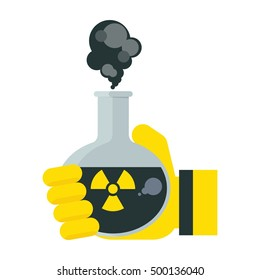Hand in protective glove holding flask with toxic chemicals. Environmental concept. Icons with environmental images. Flat cartoon flask with toxic illustration. Objects isolated on white background.