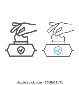 Hand pulling wet tissue line and color line icon, wash and hygiene, hand tissues sign, vector graphics, a linear pattern on a white background, eps 10