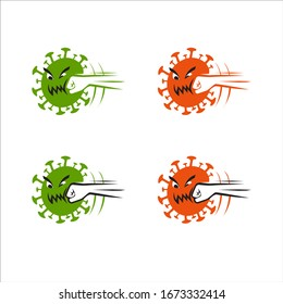 The hand punch a virus, novel coronavirus (2019-nCoV), covid-19, vector cartoon character illustration.