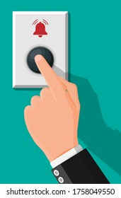 Hand push the bell button at the front door. Finger presses the doorbell switch. Person rings in the apartment. Flat vector illustration