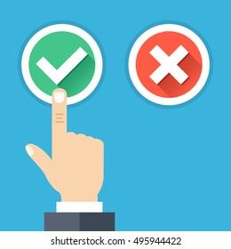 Hand pushing button with checkmark. Green tick and red cross round buttons set with long shadows. Difficult choice, tough decision, choose between yes and no concepts. Flat design vector illustration