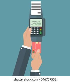 Hand pushing credit card in to pos terminal. using credit debit card via pos terminal concept. vector illustration in flat design on grey background