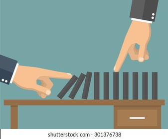 Hand pushing the domino effect on a desk, another hand stops it. Flat style