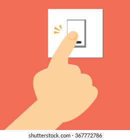 hand pushing on electric button  switch-vector