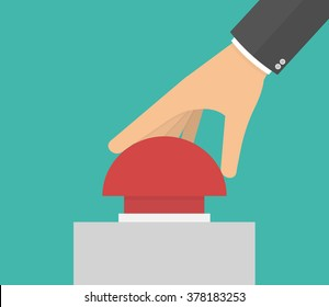 Hand pushing or pressing the big red button. Side view. Flat design