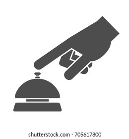 Hand pushing or pressing the service bell button icon concept