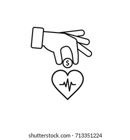 Hand put coin in heart outline illustration. Invest you health illustration.