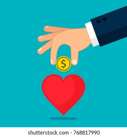 Hand put money into heart vector illustration. Invest in your health or love concept.