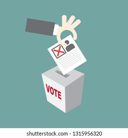 Hand put Voting Elections paper. check marks. Vector red. vote label. Vote, poll icon