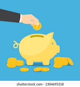 Hand puts a coin into the piggy bank. Vector illustration