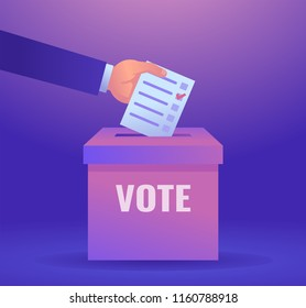 Hand puts vote bulletin into vote box. Election concept. Colorful design vector illustration