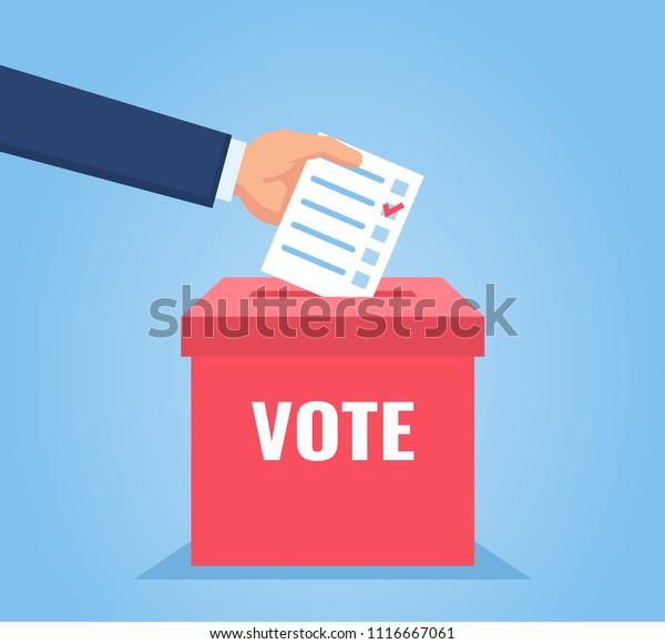 Hand puts vote bulletin into vote box. Election concept. Flat design vector illustration