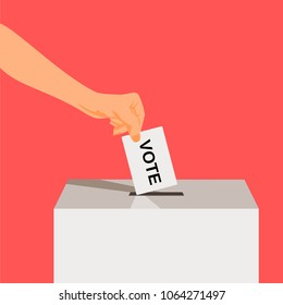 Hand puts voting ballot in ballot box. Voting and election concept. Make a choice image. Vote illustration.