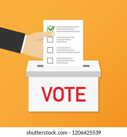 Hand puts voting ballot in ballot box. Voting and election concept. Make a choice image. Vector stock illustration.