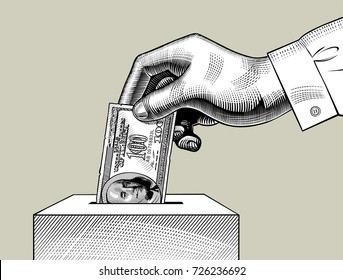 Hand putting 100 dollars bill in the box. Money donation retro concept. Vintage engraving stylized color drawing. Vector illustration