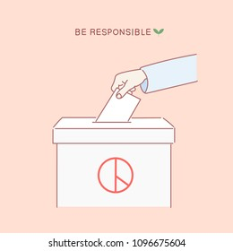 A hand putting a ballot in a ballot box. hand drawn style vector doodle design illustrations.