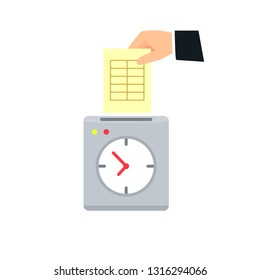 Hand putting card in time clock icon. Clipart image isolated on white background
