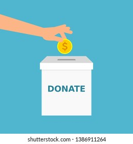 Hand is putting a coin into donation box. Donate message. Donate money, charity, helping hands, concept. Man's arm inserts gold coin in a box with DONATE sign.Vector illustration,flat style,clip art.