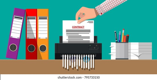Hand putting contract paper in shredder machine. Torn to shreds document. Contract termination concept. Table with paper sheets, pen, ring binder. Vector illustration in flat design
