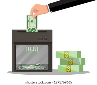 Hand putting dollar banknote in shredder machine. Destruction termination cutting money. Lose money or overspending. Vector illustration in flat style
