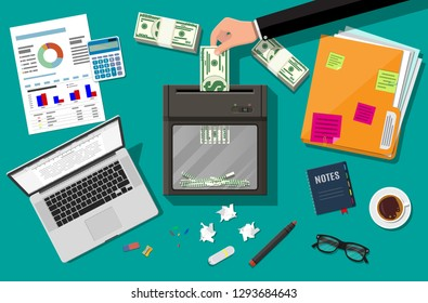 Hand putting dollar banknote in shredder machine. Destruction termination cutting money. Lose money or overspending. Table laptop, calculator, sheets, pen, ring binder. Vector illustration flat design