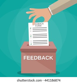 Hand putting feedback form paper in the feedback box. vote. feedback. rating concept. vector illustration in flat style on green background