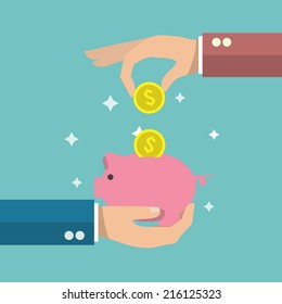 Hand putting a gold coin in funny pink piggy bank money box poster vector illustration.