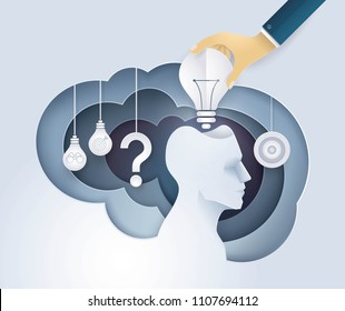 Hand putting a light bulb in Human head, get idea, giving a motivation, Creative ideas, Concept of thinking for development, Growth to success, Reach the target, Challenge,Trouble, Paper art vector
