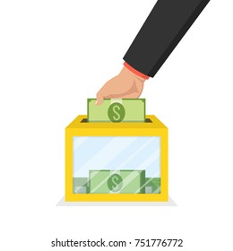 Hand putting money bill in to the donation box. Donation concept. Flat Vector illustration.