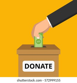 Hand putting money in donation box. Flat vector illustration.
