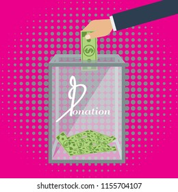 Hand putting money in transparent donation box. Illustration with trendy halftone background vector.