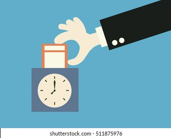Hand putting paper card in time recorder machine. vector illustration.