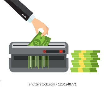 Hand putting paper money in shredder machine. Dollar termination concept. Many bundle of US dollars bank notes isolated on white background. Man's hand in a suit destroys, cuts money.