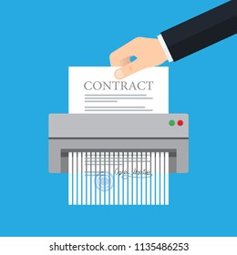 Hand putting paper in shredder machine. Contract termination. Vector illustration
