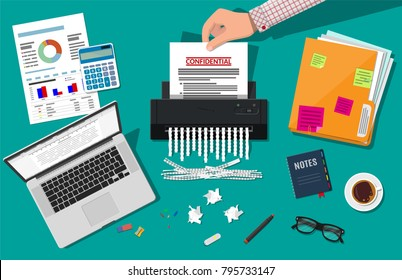 Hand putting paper in shredder machine. Document termination concept. Table with paper laptop, calculator, sheets, pen, ring binder. Vector illustration in flat design