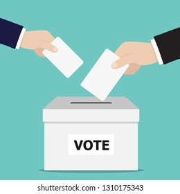 Hand putting voting ballot into vote box. Voting concept. Vector