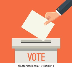 Hand putting voting paper in ballot box. Vector flat illustration